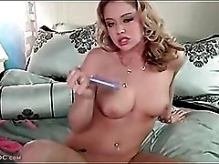 Sexy blowjob from a blonde with big tits
