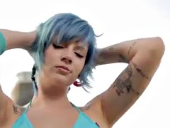 nude model in pool