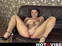Oiled up mature l rubbing her huge clit