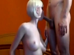 Angelic blonde with big boobs doing titjob and blowjob