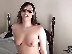 Cute girl slips purple dildo in her asshole