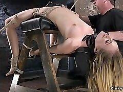 Backbend bondage and whipping slut