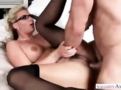 She is a smoking hot blonde woman who likes to get fucked very hard