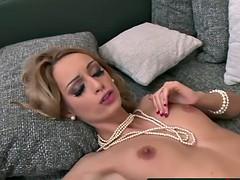 Enticing blonde slut loves sucking cock and foot fetish