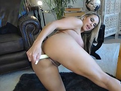 hot blonde with big boobs and big ass oiled dildo game