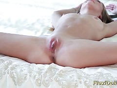 young flexi real doll stretched and toyed