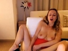Busty Blonde MILF Plays With Toys On Webcam