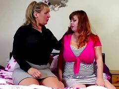 A chubby lesbian teen and a mature lady pleasuring