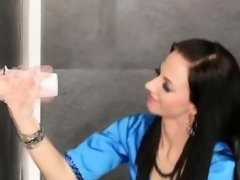 European Babe Get Sperm On Her Stocking