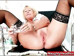 Dildo and speculum up inside the old nurse