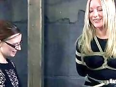Cute Trina Michaels tied up and humiliated so cruel BDSM