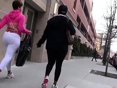 Street voyeur follows a hot ebony babe with a lovely booty