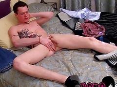 Tattooed Aaron wanking his big cock