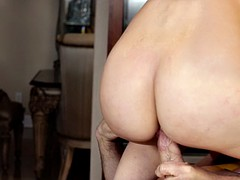 Bald hunk and busty MILF have a wild fuck session