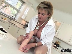 Unfaithful english mature lady sonia presents her large melo