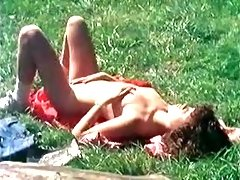 Retro Teen Girl Rubs Her Wet Pussy Getting Tanned Outdoor
