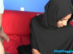 Arab hijabi babe jerking hard throbbing cock
