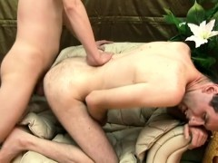 Slutty dude can't wait to ride his lover's unyielding meat stick