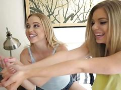 Two kinky teen blondes fucked on turns