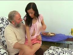 Brunette chick with little tits fucks old man in threesome