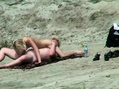 Horny blonde teen sucks and rides a meat pole on the beach