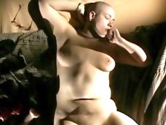 Big tits retro chick in glasses pinches nipples and masturbates pussy