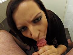Naughty girlfriend licks balls and sucks dick in POV