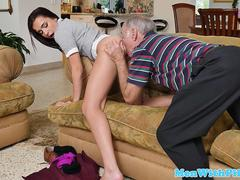 Teen babe cocksucks oldguy till cum in mouth