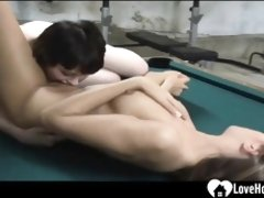 All Girl intercourse on the pool table is red-hot