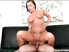 Natural boobs brunette rides hard dick