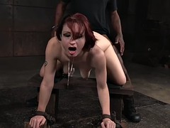 redhead violet monroe gets humiliatingly banged by two men in a basement