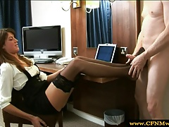 Femdom using feet for footjob
