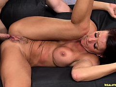 Soleil gets pounded in missionary position  on the couch.