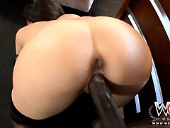 Brunette housewife gets banged by a big black dude